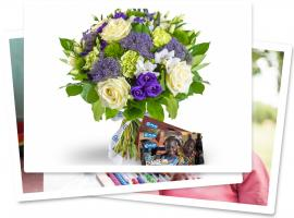 plan international bouquet bleu et carte cadeau plan